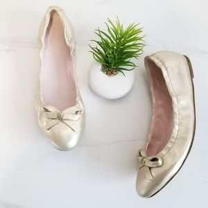 Jack Rogers Regina Gold Leather Ballet Flats Bow